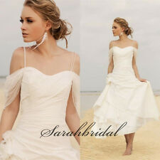 White Ivory Beach Wedding Dress Simple Off Shoulder Flower Bridal Dresses Gowns