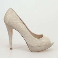 WOMAN SHOES NUDE/BEIGE/SILVER/GOLD GLITTER MESH OPENTOE HIGH HEELS EVENING PARTY