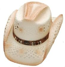 Western Virginia Straw Cowboy Hat Rodeo Beach Cattleman Peach Color - S/M,L/XL