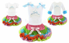 Frozen Elsa Princess Crown Rainbow Tutu Pettiskirt Outfit Pageant Party NWT 1-6Y