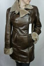 NEW WOMEN 100% GENUINE SHEARLING LEATHER COGNAC BROWN COAT JACKET FUR, XS-5XL