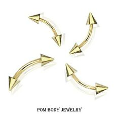 16G 14G Gold Plated Eyebrow Curved Barbells with CONE SPIKES