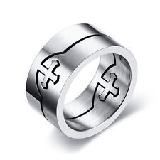 Fashion Mens Silver Titanium 316L Stainless Steel Cross Puzzle Ring Size 6-11