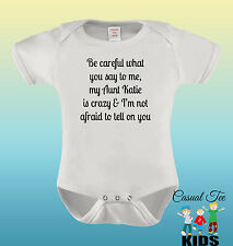 Be Careful What You Say To Me Personalized Aunt Baby Bodysuit or Toddler Tshirt