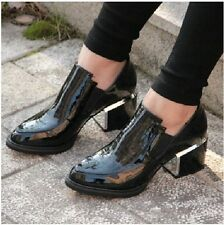 Womens new platform slip on chunky heel pointed toe classic casual court shoes
