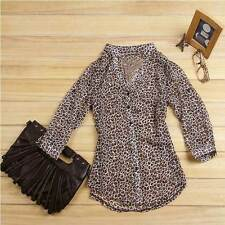 Women's Sexy Leopard Print Chiffon Casual Blouse Button Down Tops T-shirt S/M/L