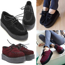 NEW WOMEN HIGH PLATFORM LACE UP LADIES FLAT ANKLE BOOTS CREEPERS PUNK GOTH SHOES