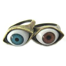 Retro Punk Rock Blue Brown Evil Eye Finger Ring Bronze Big Evil Eyeball Rings EY