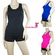 LADIES BASIC RIBBED RACER BACK STRETCH CAMI WORKOUT YOGA SPORTS HOT TEE TANK TOP