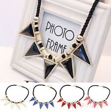 POPULAR WOMENS ROCK PUNK TRIANGLE PENDANT NECKLACE COLLAR CHAIN BIB STATEMENT