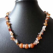 Carnelian chip, rose quartz, moss agate or sodalite gemstone necklace 18-20""
