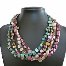 """Shell bead necklace 18"""" Natural, Pink, Blue/Green or Multi- Coloured - Balouli"""