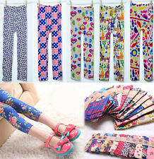 Kids Lovely Clothing Stretch Tights Leggings Pants Printed Girls Trousers Sz2-8Y