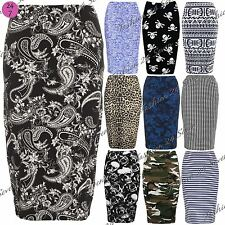 Womens Ladies Printed High Waist Wiggle Stretchy Tube Bodycon Pencil Midi Skirt