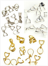 15pcs Bale Pinch Clasp Sterling Silver/Golden Findings Bail Connector Pendants