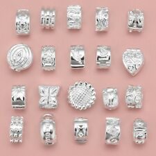 Variety of White Silver Clip Lock Stopper Clasp Bead Charm Fit European Bracelet