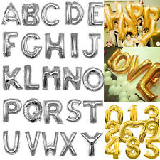 "16"" Silver Gold Foil Balloons Alphabet Letters Numbers Birthday Wedding Party"