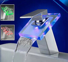 LED Single Handle Color Changing Waterfall Bathroom Sink Glass Faucet Mixer Tap