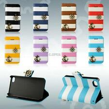 For iPhone 4G 4S 5G 5S Luxury Flip Stand Leather Stripe Anchor Wallet Case Cover