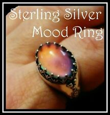 Quality Detailed Sterling Silver Mood Ring with Vivid Color Choose Size