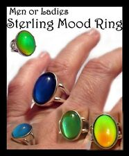 Quality Man or Ladies Sterling Silver Mood Ring with Vivid Color Choose Size