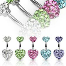 Surgical Steel 1 PC Peridot Heart Crystal Gem Navel Belly Button Ring 5 COLORS