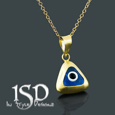 14k Gold Women's Triangle Blue Evil Eye Good Luck Pendant Charm Necklace Chain