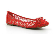 Flat Pumps Red Lace Wedding Ballerina Bridal 3 4 5 6 7 7.5 8