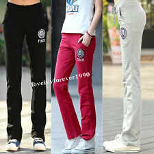 Womens Soft Cotton Yoga Sweat Lounge Gym Casual Sports Athletic Pants Trousers