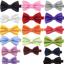 ASSORTED MENS COOL CHARMING PURE PLAIN BOWTIE POLYESTER PRE TIED WEDDING BOW TIE