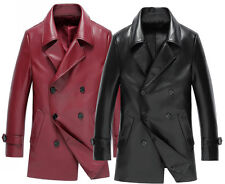 Fashion Mens Winter Jacket Leather Coat Fur Parka Fleece Jacket Trench Slim Coat