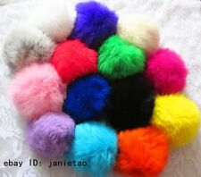 New 8cm Soft Geniune Rabbit Fur Quality Key Chain Keyrings 14 Colors