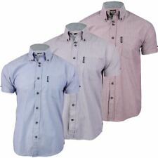 Mens Shirt By Lambretta Chambray Stripe Button Down Collar Short Sleeves