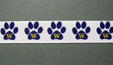 "UNIVERSITY of WASHINGTON HUSKIES 7/8"" Grosgrain Paw Print Ribbon"