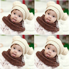 Fashion Baby Dual Ball Toddler Boys Wool Knit Sweater Beanie Cap Hat Black Red