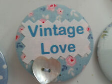 Personalised  Custom fabric & button printed  MAGNETS, vintage, home sweet, age