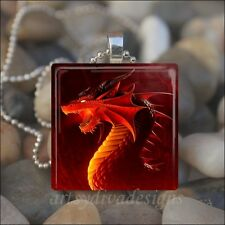 """RED DRAGON"" FIRE DRAGON LIZARD FANTASY GLASS TILE PENDANT NECKLACE KEYRING"
