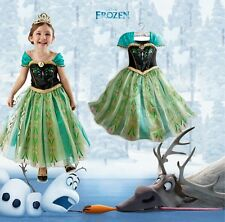 Girls Disney Frozen Elsa Dress Up Gown Cosplay Princess Queen Anna Party Costume