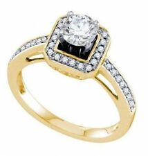 1 CTW Solitaire & Square Halo + Band Pave Diamond Engagement Ring in 14K Gold
