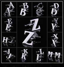 A Pair A to Z Novelty Person Customized Initials Letters Silver Mens Cufflinks