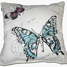 """BUTTERFLY CUSHION COVER TEAL CHENILLE LUXURY QUALITY 18 x 18"""" 45 x 45cm"""