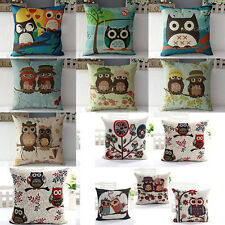 Owl Linen Cotton Throw Pillow Cushion Case Cover Home Car Sofa Decor Gift