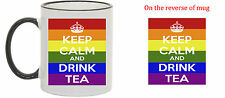 Keep Calm Multi Colour Logo Mugs on various Coloured Mugs Choose Your Own Text