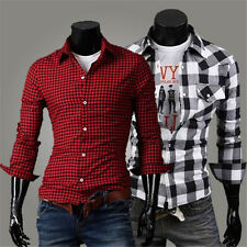 New Slim fit Fashion Casual Grid Long-sleeved shirt men's clothing