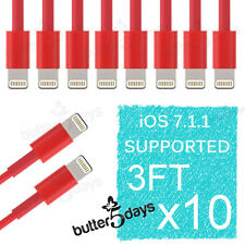 10x 8 Pin Red USB Data Sync Charger Cable Cord for iPhone 5S 5C iPod Touch