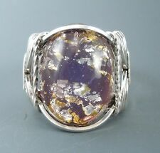 Sterling Silver Wire Wrapped Purple Foil Glass Cabochon Ring