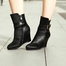 New Womens Trendy Leather Buckle Strap Side Zipper Wedge Heel Ankle Riding Boots