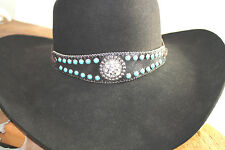 Leather Turquoise Crystal Hatband Rodeo Horse Show Club Western English Queen
