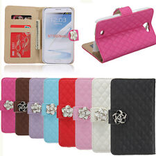 Camellia Grid Flower Wallet Leather Case Cover For Samsung Galaxy Note 2 N7100
