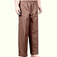 Men's Full Elastic Waist Pull-On Pants with Mock Fly-Brown